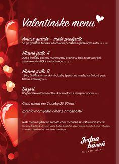 Jedna Báseň Dlhé Diely Valentínske menu Menu, Menu Board Design