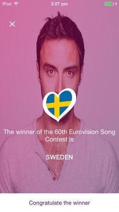 Congratulations to Måns Zelmerlöw for winning the 60th Eurovision Song Contest.