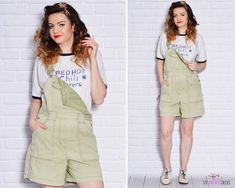 Green Overalls Cute Denim Dungarees Jean Short Jumpsuit Patch Pockets Grunge Strapped Shorts Cargo Vacation Light Jean Pistachio by SixVintageChicks on Etsy