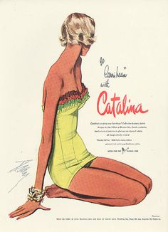 1950's Fashion ~ Go Caribbean with Catalina Swimsuit vintage ad., Dec. 1950, Vogue.  #vintageswimsuitad