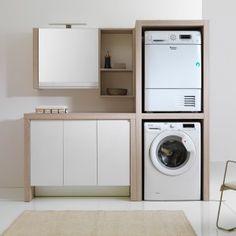 lavatrice e asciugatrice in colonna con lavatoio