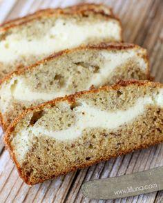 Cinnamon and Sugar Topper Cream Cheese Filled Banana Bread recipe { lilluna.com }