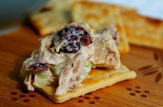 Cranberry Chicken Salad, made with shredded chicken, dried cranberries and pecans, and tossed with a honey mayo dressing, perfect on a cracker, over shredded lettuce or made into sandwiches.
