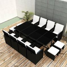 This rattan dining set, with an elegant design, will be a great choice for al fresco dining or relaxing in the garden. The weather-resistant and waterproof PE rattan make dining set is easy to clean.