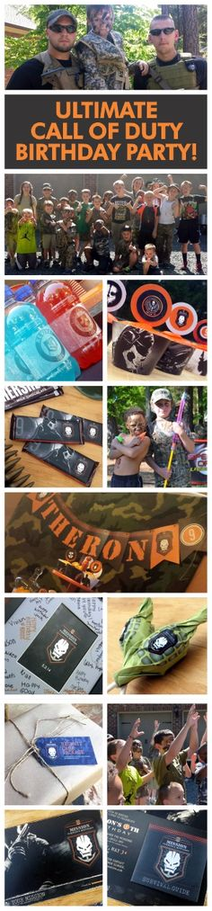Call of Duty birthday party ideas and invitations! The absolute coolest - My kid LOVED it and so did all his friends! Best mom award!