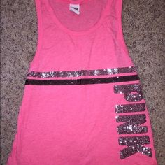 Victoria secret pink tank Pink sequence tank PINK Victoria's Secret Tops Tank Tops
