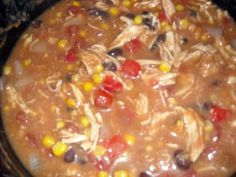 Chicken Enchilada Soup - crockpot recipe, top with chips, avocado, cheese and sourcream - SO good!