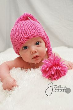 Newborn Baby Pink Elf Hat.  I just need a baby granddaughter to give this to. <3