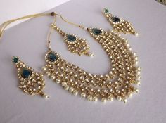 Shop Haar Style Kundan & Pearl Necklace Set by Bhamini Jewellery & Accessories online. Largest collection of Latest Necklaces online. Indian Bridal Jewelry Sets, Wedding Jewelry, Bridal Jewellery, Diamond Jewellery, Antique Jewellery Online, Antique Jewelry, Jewelry Accessories, Jewelry Design, Accessories Online