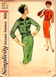 1950's Misses' Two-Piece Dress  Simplicity 2728  Size 16  Bust 36