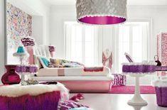 jugendzimmer für mädchen gestalten rosa lila akzente akzentwand