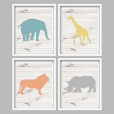 Safari Animals Nursery Digital Art Prints  Set by PerfectlyMatched