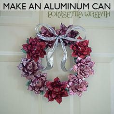 Use soda cans to create a whole range of aluminum can crafts. Pop cans and even soup cans are used to shape fun decorating projects and toys. Over 90 aluminum can craft projects. Tin Can Art, Soda Can Art, Christmas Wreaths To Make, Christmas Crafts, Christmas Decorations, Aluminum Can Crafts, Metal Crafts, Recycle Cans, Repurpose