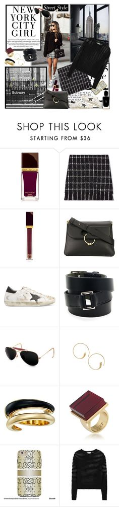 """""""Street Style"""" by cupcakecouturegirls ❤ liked on Polyvore featuring ASAP, Tom Ford, Tory Burch, J.W. Anderson, Golden Goose, Hermès, Ray-Ban, SOKO, Michael Kors and Trina Turk"""