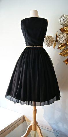 50s Dress / Vintage 1950s Full Skirt Chiffon by xtabayvintage