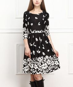 Reborn Collection Black & White Floral A-Line Dress by Reborn Collection #zulily #zulilyfinds