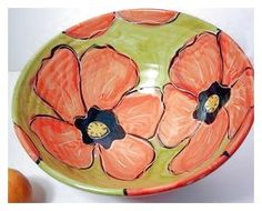Handmade Large Majolica Pottery Serving por ClayLickCreekPottery click the image for more details. Painted Ceramic Plates, Hand Painted Ceramics, Ceramic Painting, Ceramic Bowls, Ceramic Art, Pottery Bowls, Ceramic Pottery, Pottery Art, Pottery Painting Designs