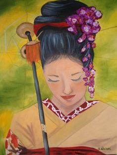 """Geisha Doll"" painting by Sherry Weisel."
