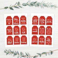 Vtipné autorské visačky na vánoční dárky - 18 kůsu, velikosti 8 x 5,5 cm. V PDF k tisku za 35,- :) Water Bottle, Water Bottles