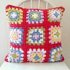 hopscotch lane: Red crochet granny square pillow