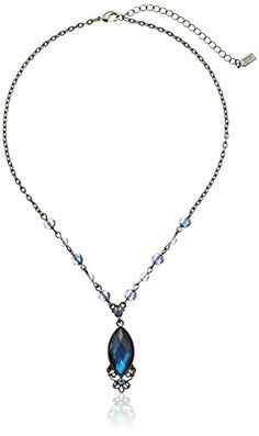 """1928 Jewelry Hematite-Tone Blue Pendant Necklace, 16"""" *** Want additional info? Click on the image."""