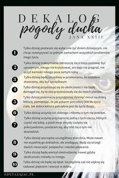 Dekalog pogody ducha Motivational Words, Words Quotes, Life Quotes, Bible Verse Wallpaper, Self Improvement Tips, Music Humor, Positive Mind, Life Motivation, Life Advice
