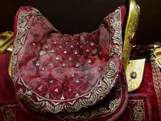 Horse tack of Samuel Oskierko by Anonymous from Poland, before 1633, Polish Army Museum. It belonged to a member of the Polish-Lithuanian Commonwealth's legation to Rome in 1633, lead by Jerzy Ossoliński. #fragment #horse #tack #samueloskierko #poland #polisharmymuseum #legation #rome #jerzyossolinski #artinpl #warsaw #silverthread #velvet #silk #mounted #wood #gilt #grenade #karneol Horse Tack, Rome, Museum, Velvet, Horses, Warsaw, Anonymous, Poland, Bags