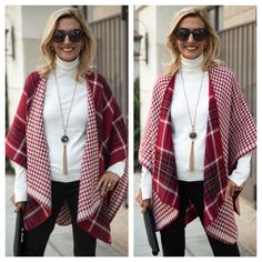 ONLY 2 LEFT - Last chance to grab our last two Red Reversible Plaid and Herringbone Ponchos, perfect for the holidays and PART OF OUR HOLIDAY SALE . Get 20% off on orders over $100 using code HOL20 and 15% off on orders under $100 with code HOL15 Plus Free US Shipping www.jacketsociety.com