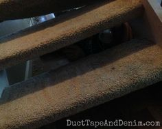 Nasty before we pulled carpet off the stairs. See the after on DuctTapeAndDenim.com