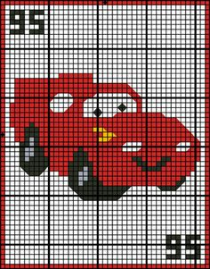 Cars - Lightning McQueen Granny Square Crochet Pattern-This adorable afghan with a picture of Cars - Lightning McQueen, is sure to be your childs favorite. Skill Level for this pattern: Intermediate Our pattern instructions are easy to read and follo Crochet Square Pattern, Graph Crochet, Crochet Car, Tapestry Crochet, Crochet Granny, Crochet Patterns, Crochet Beanie, Crochet Dolls, Doll Patterns