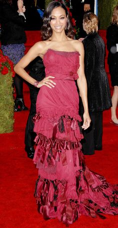 From Marilyn to Lupita, See Our Favorite Golden Globes Gowns of All Time - Zoe Saldana, 2010  - from InStyle.com