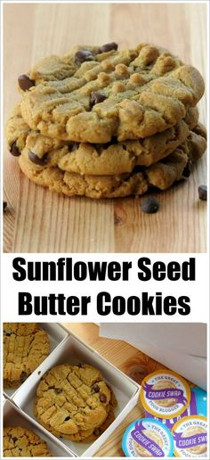 Sunflower Seed Butter Cookies with Chocolate Chips - Sunflower Seed Butter or SunButter Cookies – Nut-free, Vegan Recipe - Vegan Desserts, Just Desserts, Vegan Recipes, Eggless Recipes, Flour Recipes, Vegan Snacks, Vegan Dishes, Sweet Recipes, Yummy Recipes