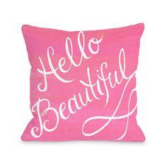 - Hello Beautiful Bow Throw Pillow