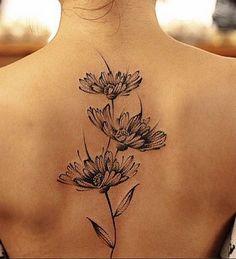 Riveting Back Daisy Tattoo, New Flower Tattoos October 2016