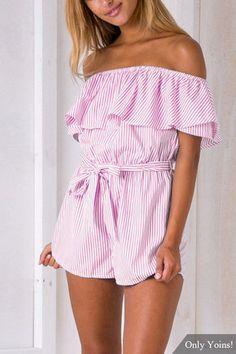 Pink Stripe Pattern Off Shoulder Flouncy Details Dress