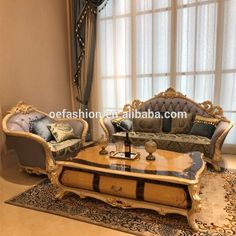 French Style Living Room Furniture Fabric Sofa Set/European New Classic  Wood Carving Flamboyant Upholstered