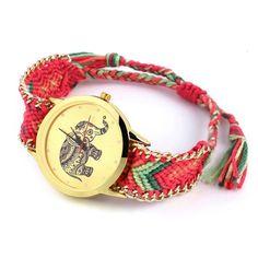 relojes mujer 2015 New Brand Handmade Braided Elephant Bracelet Watch GENEVA Watches Women Quarzt Watches relogio feminino