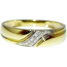 Real Diamond Mens Wedding Band Ring 10k Yellow Gold 0.10ct 5.5mm Wide Size 10 New