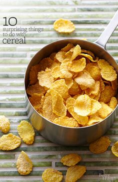 Cereal goes way beyond the bowl with creative uses that play up its crunch and texture. Whether you prefer a sweet cake topped with chocolate puff cereal or savory fried chicken rolled in crushed cornflakes, here are 10 recipes that think outside the cereal box.