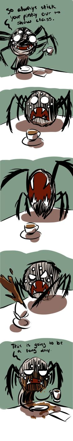 """Art trade for TFresistance """"Webber tries to civilize the spiders"""" Made while listening to www.youtube.com/watch?v=ynEOo2… which I kinda find fitting being the kind of music they h..."""