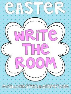 """FREE!!!!  This freebie includes 2 write the room activities for your little ones. They find words that start with each letter of """"Easter Eggs"""" and """"Bunny Rabbit,"""" and then they can walk around and find easter cards with sight words on them and record on their recording sheet."""