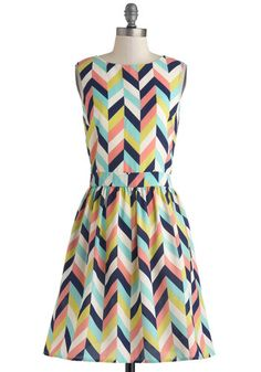Arrow Your Boat Dress by Louche - Multi, Green, Blue, Pink, Chevron, Buttons, Pockets, A-line, Sleeveless, Boat, Party, Spring