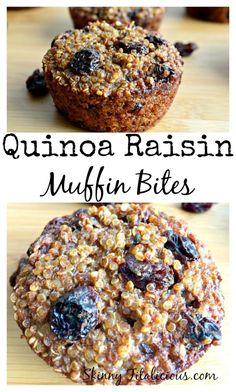 Quinoa Raisin Muffin Bites {GF, Vegan, Low Cal}
