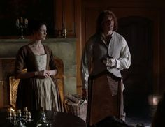 Claire Fraser (Caitriona Balfe) and Jamie Fraser (Sam Heughan) in Season Two of Outlander on Staz | Through A Glass, Darkly via http://kissthemgoodbye.net/PeriodDrama/thumbnails.php?album=535
