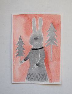 winter rabbit - an original gouache painting - folk art. £12.00, via Etsy.