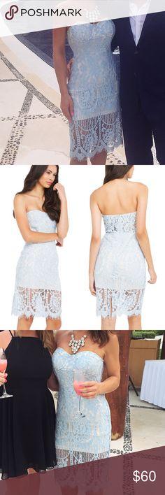 Strapless Lace Midi dress Gorgeous light blue lace midi dress. Worn once to a wedding. 🚫 trades. Dresses Midi