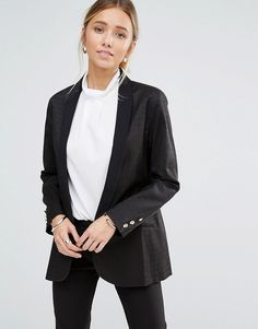 Buy it now. Closet Textured Long Collar Blazer - Black. Blazer by Closet, Textured woven fabric, Shawl lapels, Button fastening, Pocket detail, Regular fit - true to size, Dry clean, 50% Cotton, 47% Polyester, 3% Elastane, Our model wears a UK 8/EU 36/US 4 and is 175cm/5'9 tall. ABOUT CLOSET Designing and producing a covetable collection of day to night dresses in the heart of London, Closet transcends seasons to bring you fashion-forward pieces that will always be in style. Look to classic…