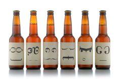 Typo symbol face beer bottle packaging