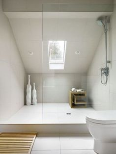 38 Fantastic Attic Bathroom Design Ideas : 38 Fantastic Attic Bathroom Design Ideas With White Water Closet And Glass Shower Cabin Design