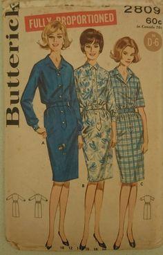 Vintage 1960s Sewing Pattern Butterick 2809 Misses  Shirt  Dress Uncut 12 B 32